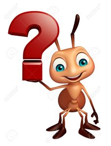 Ant cartoon character with question mark sign